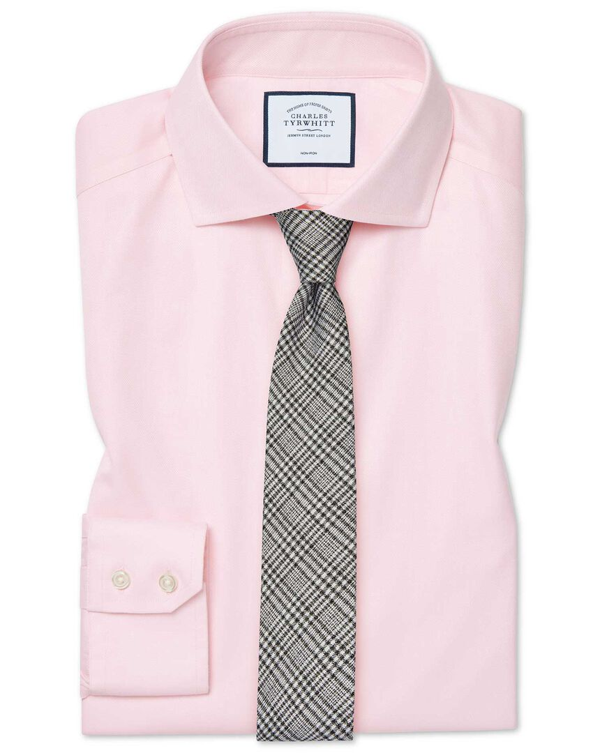 Slim fit cutaway  non-iron cotton stretch pink shirt