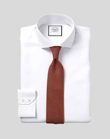 Slim fit white Egyptian cotton poplin spread collar shirt