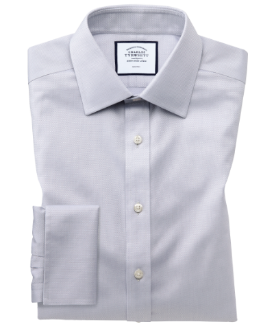 Extra slim fit non-iron grey triangle weave shirt