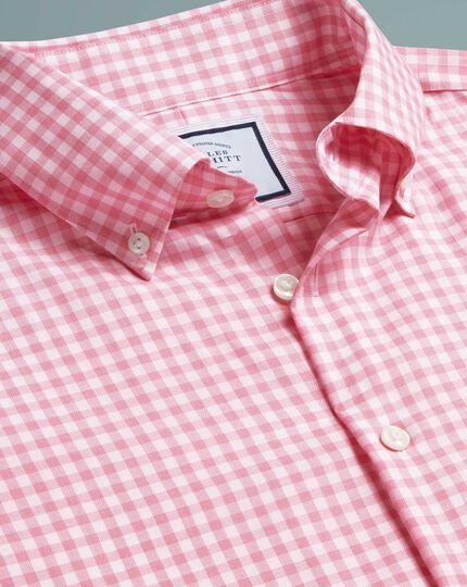 Chemise business casual rose coupe droite à carreaux et Tencel™ sans repassage
