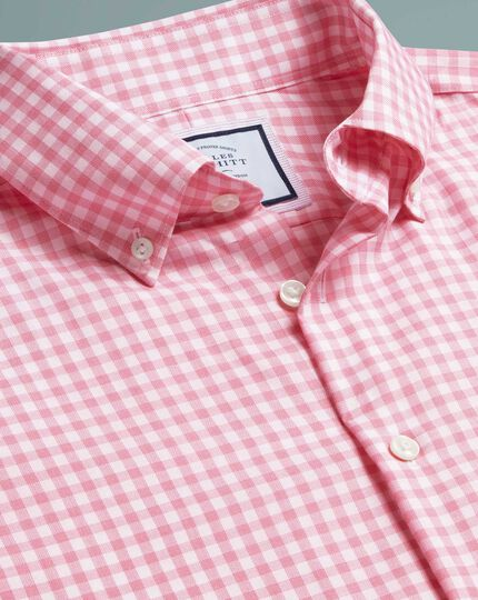 Slim fit button-down business casual non-iron with pink check shirtTENCEL™