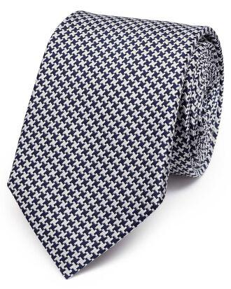Cravate classique bleu marine pied-de-poule en soie
