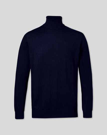 Merino Roll Neck Jumper - Navy