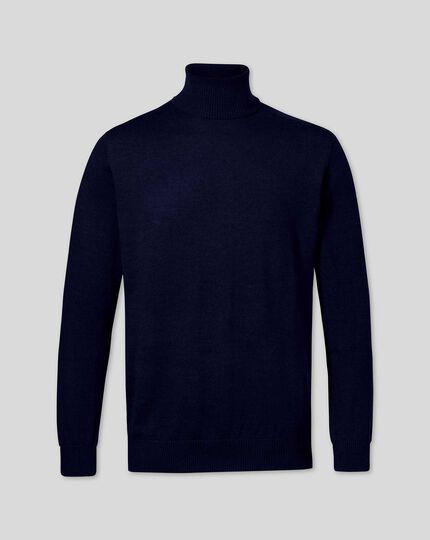 Pull en laine mérinos à col roulé - Bleu marine