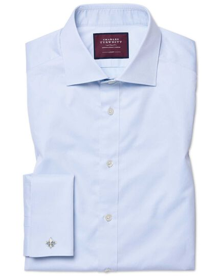 Extra slim fit semi-cutaway luxury twill light blue shirt