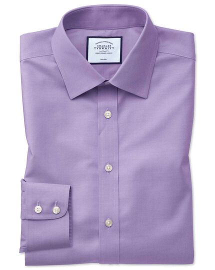 Classic fit lilac non-iron twill shirt