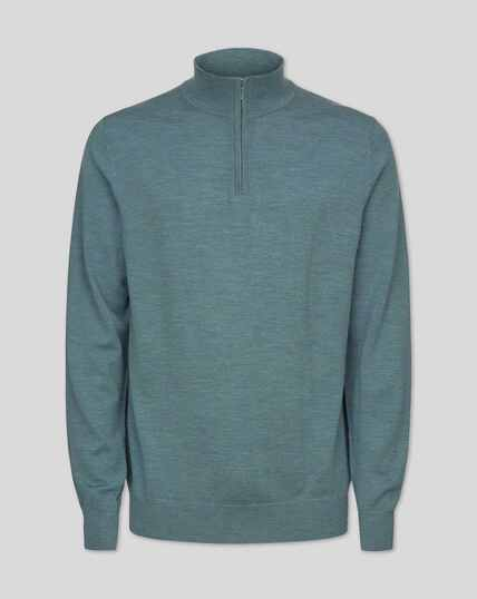 Merino Zip Neck Jumper - Blue