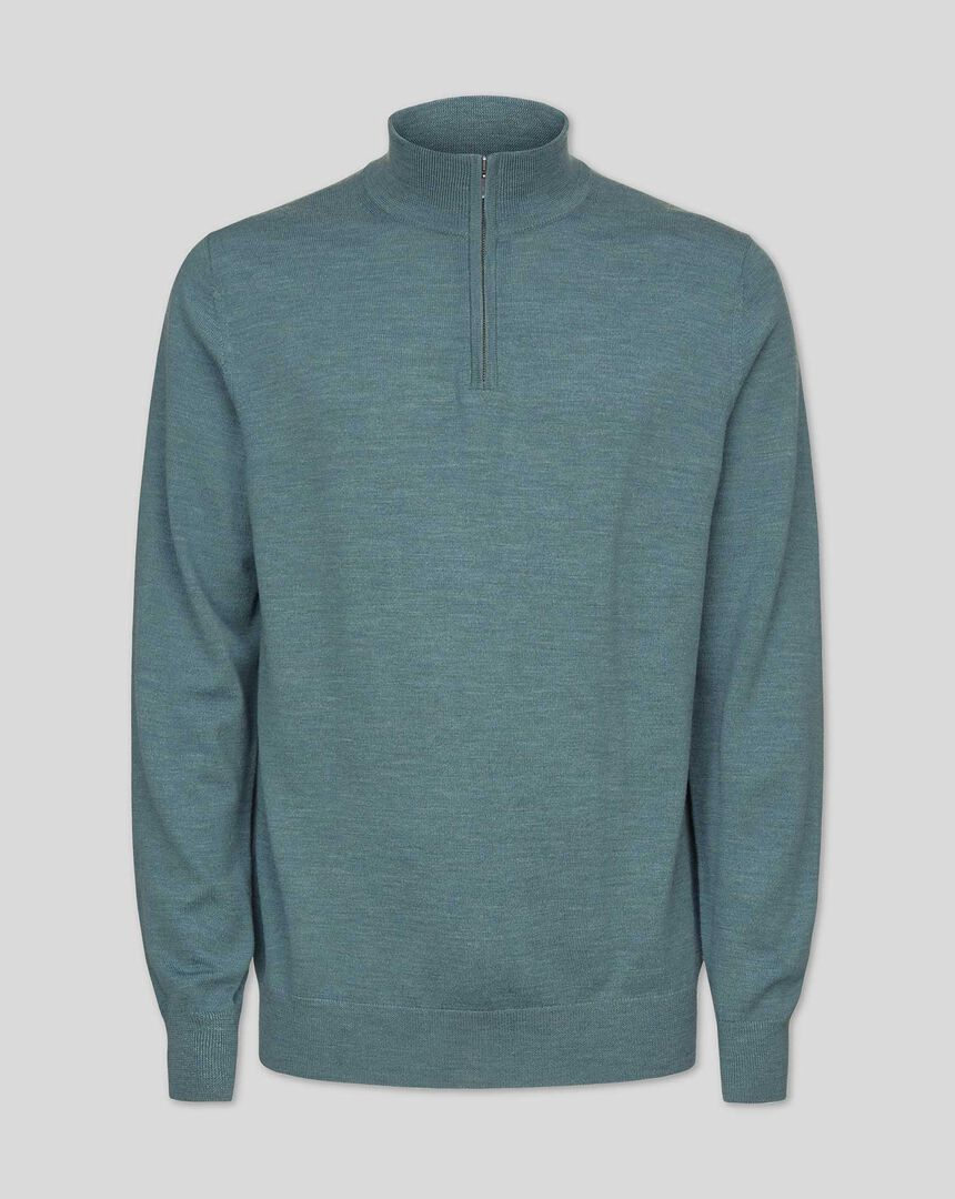 Merino Zip Neck Sweater - Teal Melange