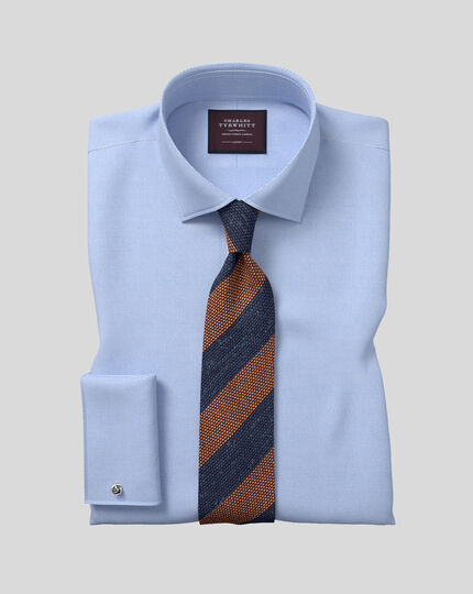 Silk Grenadine Stripe Italian Luxury Tie - Navy & Orange