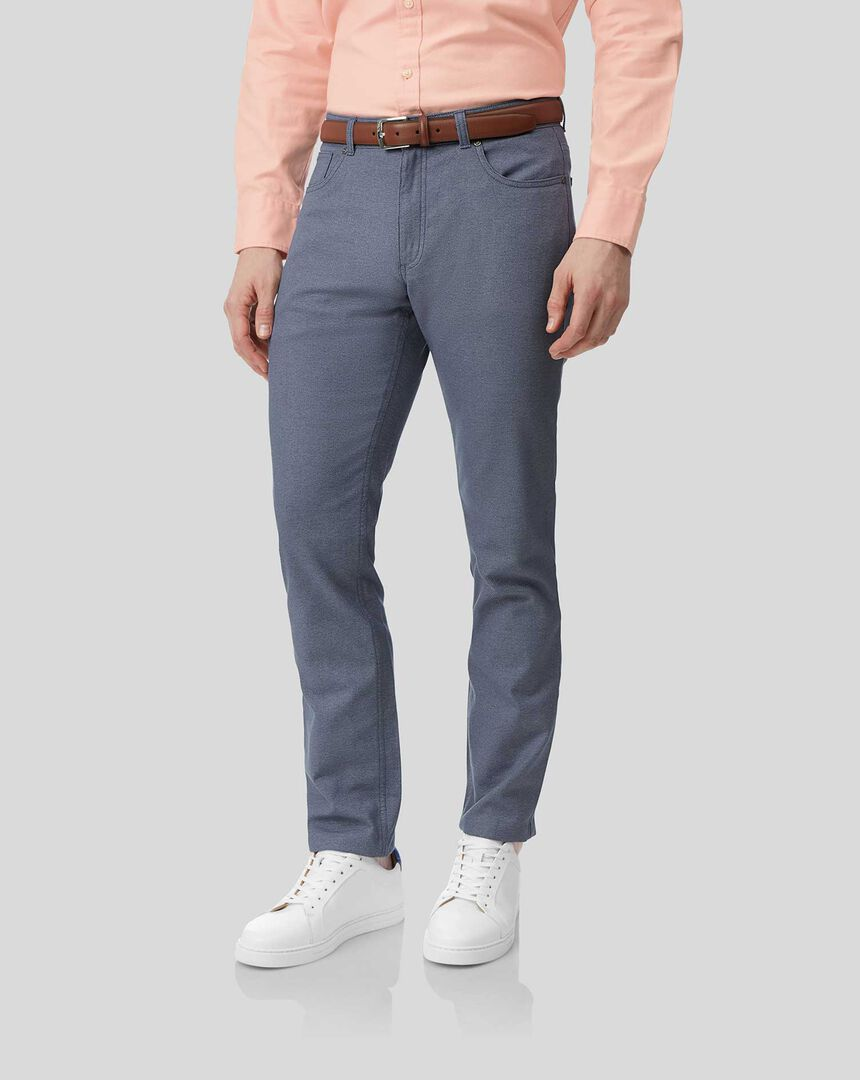 Textured 5-Pocket Trousers - Blue