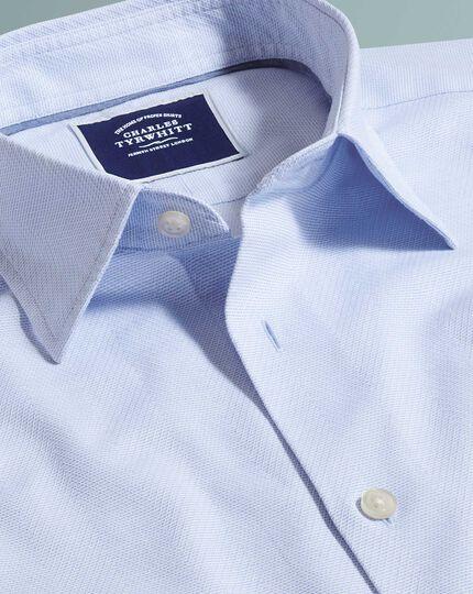 Classic fit sky blue soft texture herringbone shirt