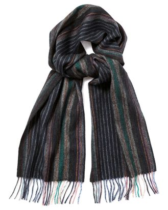Navy multi fine stripe lambswool scarf