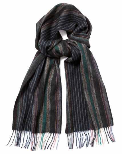 Écharpe bleu marine en laine d'agneau à fines rayures multicolores