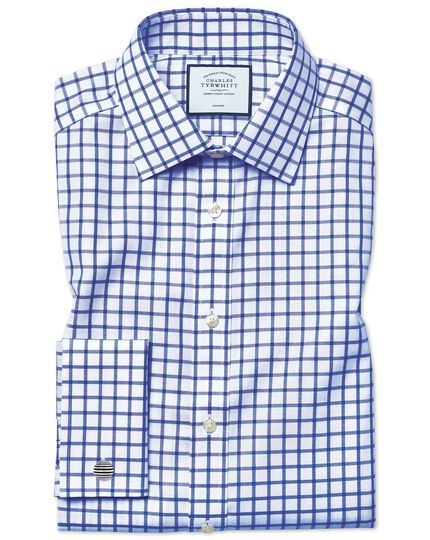 Extra slim fit non-iron royal blue grid check twill shirt