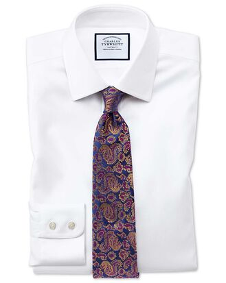 Slim fit non-iron step weave white shirt