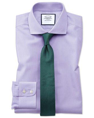 Extra slim fit cutaway collar non-iron bengal stripe lilac shirt