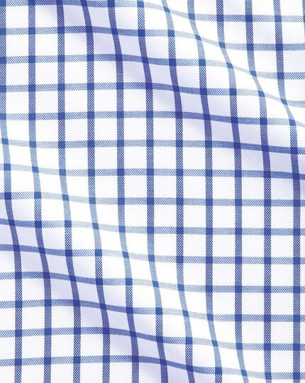 Slim fit non-iron twill grid check royal blue shirt