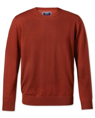 Rust crew neck merino jumper