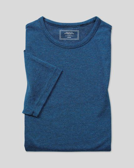 Tyrwhitt T-Shirt aus Baumwolle & Leinen - Blau
