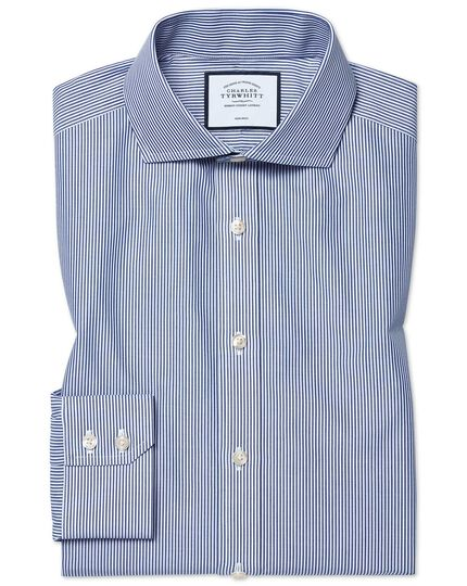 Slim fit non-iron spread collar navy Bengal stripe shirt