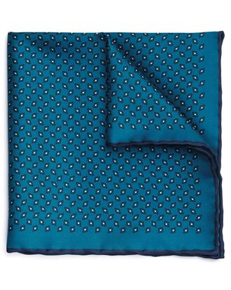 Teal silk diamond printed pocket square