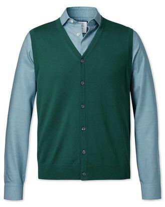 Dark green merino waistcoat