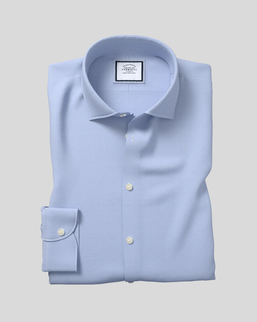 Business Casual Collar Softly Smart Check Shirt - Sky