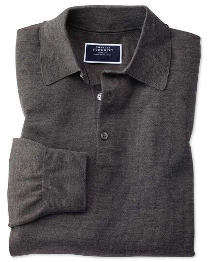 Charcoal polo collar merino sweater