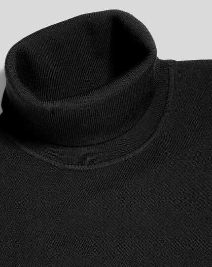 Merino Turtle Neck Sweater - Black