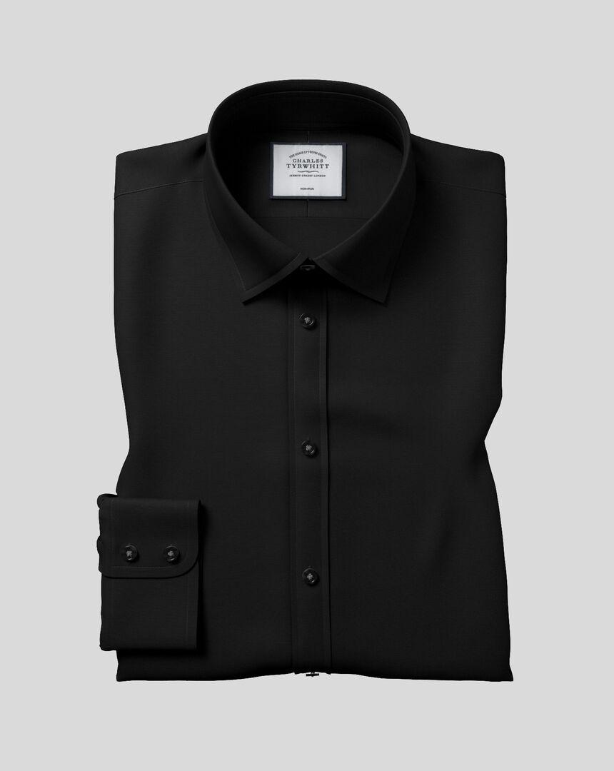 Chemise en popeline à col classique sans repassage  - Noir