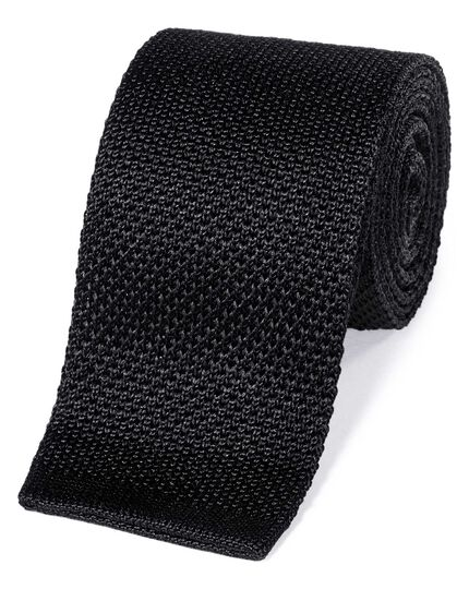 Black silk slim knitted classic tie