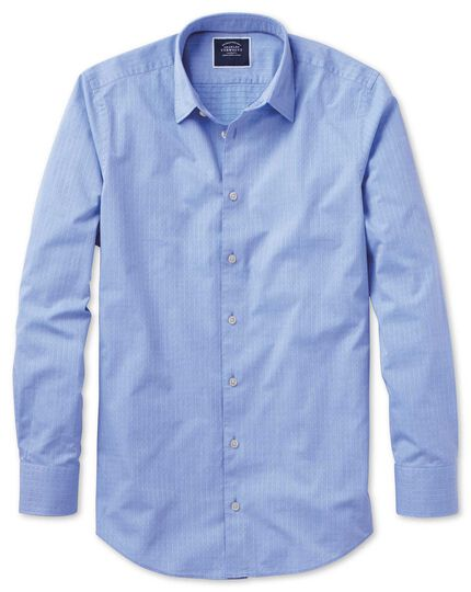 Slim fit blue square soft texture shirt