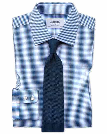 Slim fit small gingham navy blue shirt