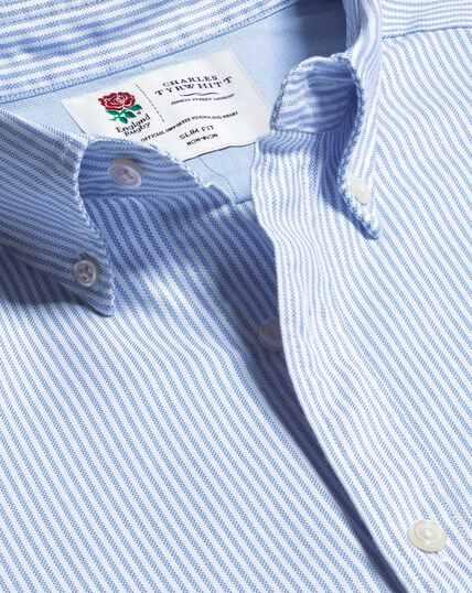 Vorgewaschenes England Rugby Oxfordhemd mit Button-down-Kragen und Streifen - Blau & Weiß