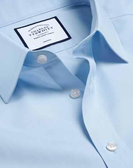 Bügelfreies Tyrwhitt Cool Popeline-Kurzarmhemd - Himmelblau