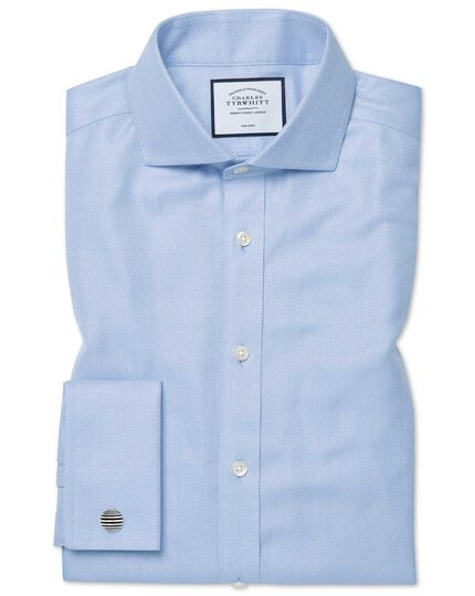 Slim fit non-iron spread collar sky blue herringbone shirt
