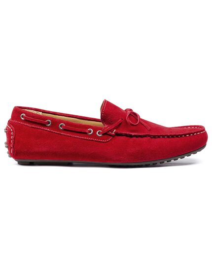 Red driving loafer