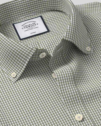 Button-Down Collar Non-Iron Check Shirt - Olive