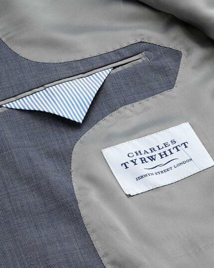 Light blue slim fit sharkskin travel suit jacket