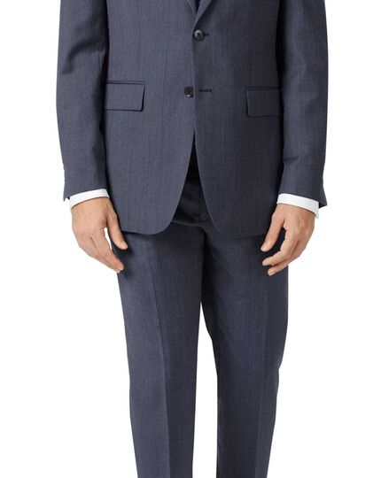 Blue slim fit twill business suit jacket