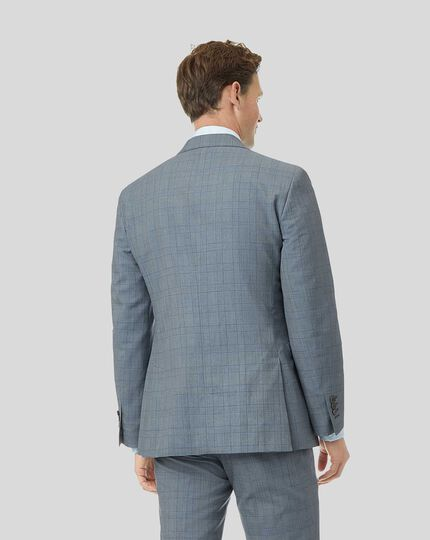 Wool Linen Check Suit Jacket - Sky Blue