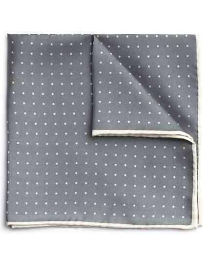 Grey and white silk spot printed pocket square