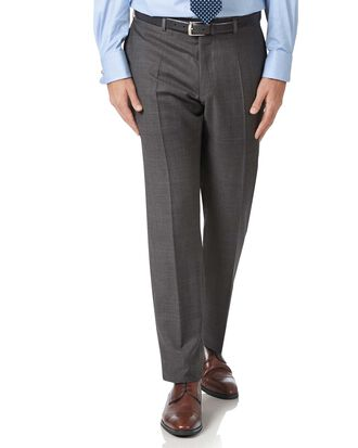 Grey slim fit luxury Italian check suit trousers