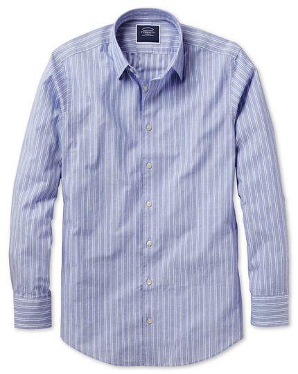 Chemise bleue et blanche slim fit légèrement texturée à rayures