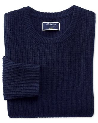 Navy lambswool rib crew neck sweater