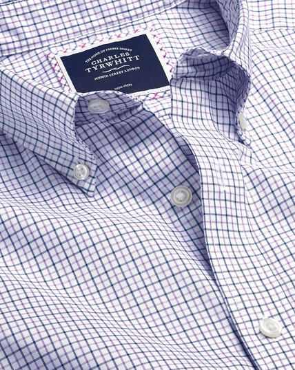Bügelfreies Oxfordhemd aus Stretchgewebe mit Button-down-Kragen und Karos - Lila & Marineblau