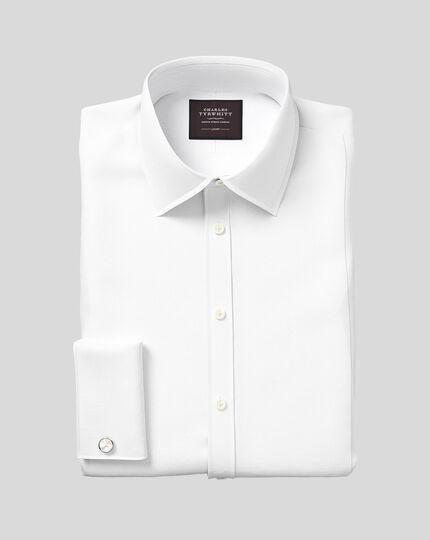 Marcella Bib Tuxedo Shirt  - White