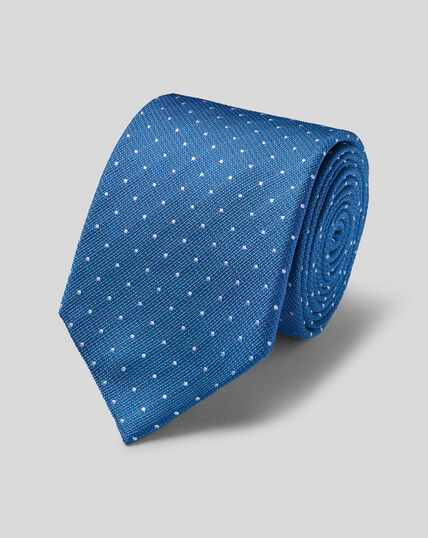 Stain Resistant Silk Textured Spot Classic Tie - Royal Blue & White