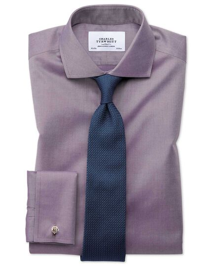 Extra slim fit cutaway non-iron twill dark purple shirt