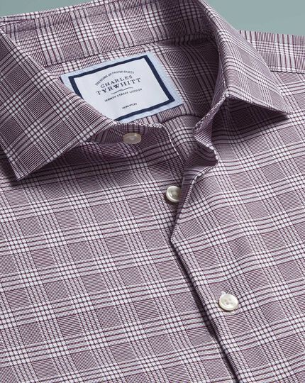 Extra slim fit non-iron natural stretch Prince of Wales check berry shirt